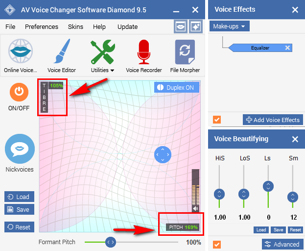 Use Pitch and Timbre graph to change voice